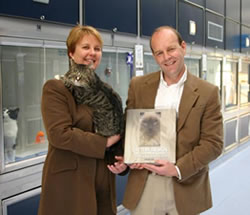 Helen Ralston, Chief Executive of Cats Protection with author David Key and rescue cat Sam